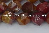 CAA1002 15.5 inches 10mm faceted nuggets red moss agate beads
