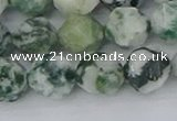 CAA1023 15.5 inches 12mm faceted nuggets tree agate beads