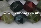 CAA1029 15.5 inches 12mm faceted nuggets Indian agate beads