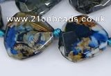 CAA1136 18*20mm - 25*35mm faceted freeform dragon veins agate beads
