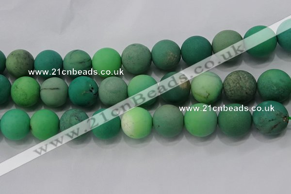 CAA1156 15.5 inches 16mm round matte grass agate beads wholesale