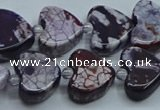 CAA1187 15.5 inches 16mm - 18mm heart dragon veins agate beads
