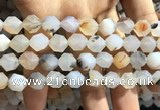 CAA1233 15.5 inches 12mm faceted nuggets matte dendritic agate beads