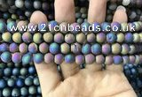 CAA1298 15.5 inches 8mm round matte plated druzy agate beads