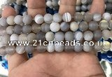 CAA1471 15.5 inches 8mm round matte banded agate beads wholesale