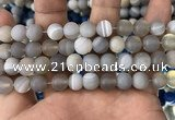 CAA1473 15.5 inches 12mm round matte banded agate beads wholesale