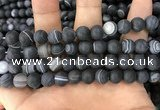 CAA1488 15.5 inches 12mm round matte banded agate beads wholesale