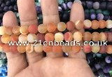 CAA1491 15.5 inches 8mm round matte banded agate beads wholesale