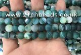 CAA1512 15.5 inches 10mm round matte banded agate beads wholesale
