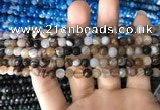 CAA1635 15.5 inches 6mm faceted round banded agate beads