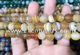 CAA1648 15.5 inches 12mm faceted round banded agate beads