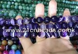 CAA1653 15.5 inches 12mm faceted round banded agate beads
