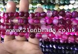 CAA1656 15.5 inches 8mm faceted round banded agate beads