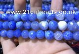CAA1750 15 inches 12mm faceted round fire crackle agate beads
