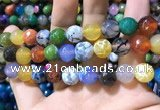 CAA1751 15 inches 12mm faceted round fire crackle agate beads