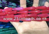 CAA2072 15.5 inches 10*30mm teardrop agate beads wholesale