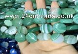 CAA2175 15.5 inches 15*20mm oval banded agate beads wholesale