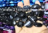CAA2177 15.5 inches 15*20mm oval banded agate beads wholesale