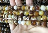 CAA2207 15.5 inches 10mm faceted round banded agate beads
