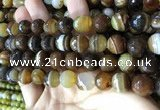 CAA2209 15.5 inches 14mm faceted round banded agate beads