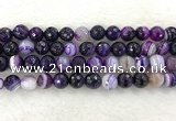 CAA2215 15.5 inches 12mm faceted round banded agate beads