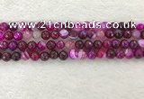 CAA2220 15.5 inches 8mm faceted round banded agate beads