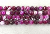 CAA2222 15.5 inches 12mm faceted round banded agate beads