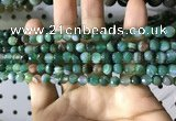CAA2285 15.5 inches 4mm faceted round banded agate beads