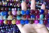 CAA2297 15.5 inches 14mm faceted round banded agate beads