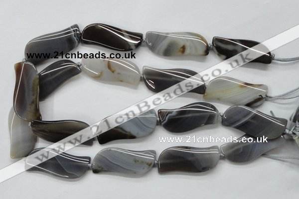 CAA236 15.5 inches 18*46mm marquise grey line agate beads