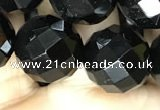 CAA2422 15.5 inches 18mm faceted round black agate beads wholesale