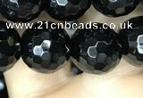 CAA2430 15.5 inches 14mm faceted round black agate beads wholesale