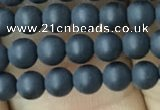 CAA2447 15.5 inches 4mm round matte black agate beads wholesale