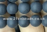 CAA2449 15.5 inches 8mm round matte black agate beads wholesale