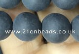 CAA2452 15.5 inches 14mm round matte black agate beads wholesale