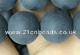 CAA2454 15.5 inches 18mm round matte black agate beads wholesale