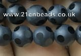 CAA2458 15.5 inches 6mm carved round matte black agate beads