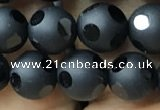 CAA2459 15.5 inches 8mm carved round matte black agate beads