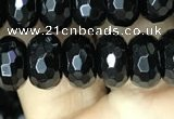 CAA2471 15.5 inches 6*10mm faceted rondelle black agate beads