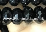 CAA2472 15.5 inches 8*12mm faceted rondelle black agate beads