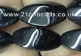 CAA2483 15.5 inches 8*16mm twisted rice black agate beads