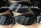 CAA2491 15.5 inches 8*16mm faceted & twisted rice black agate beads
