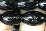 CAA2502 15.5 inches 10*14mm faceted rice black agate beads wholesale