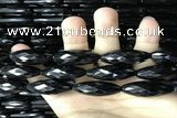 CAA2506 15.5 inches 10*30mm faceted rice black agate beads wholesale