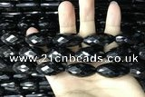 CAA2507 15.5 inches 15*30mm faceted rice black agate beads wholesale