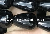 CAA2514 15.5 inches 10*14mm faceted teardrop black agate beads