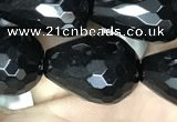 CAA2516 15.5 inches 13*18mm faceted teardrop black agate beads