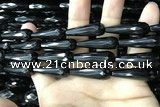CAA2520 15.5 inches 10*30mm faceted teardrop black agate beads
