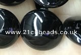 CAA2530 15.5 inches 18mm flat round black agate beads wholesale