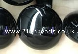 CAA2532 15.5 inches 25mm flat round black agate beads wholesale